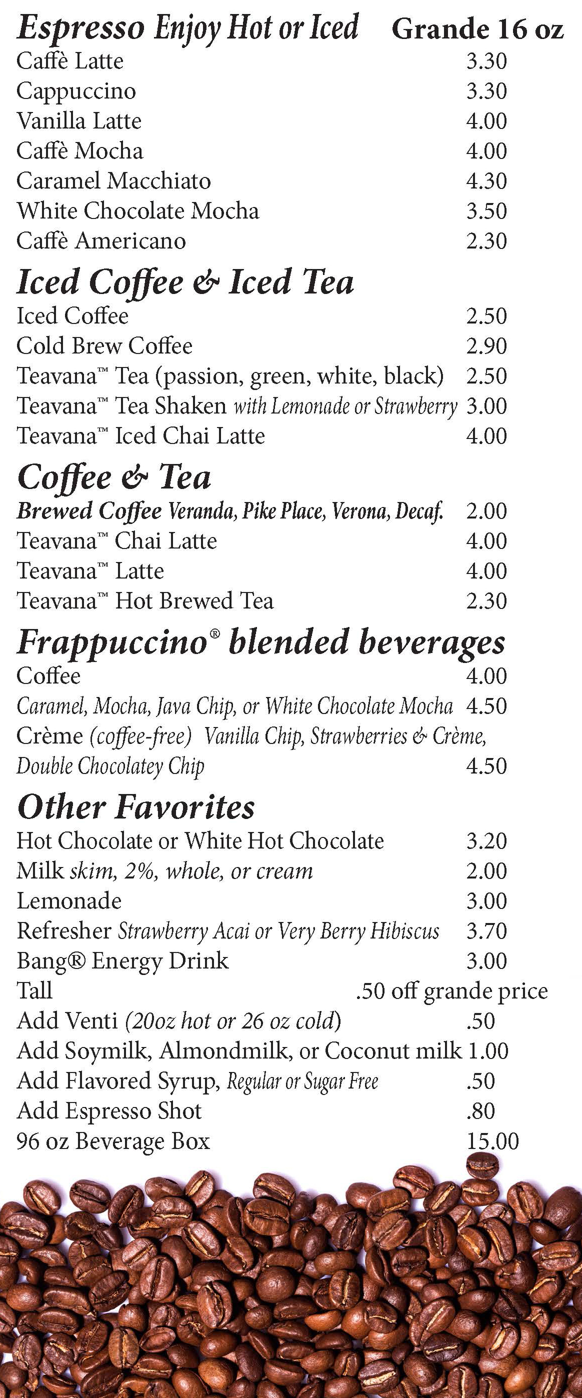 bru drink menu